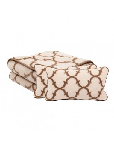 Set pătură și perne Latte din lână