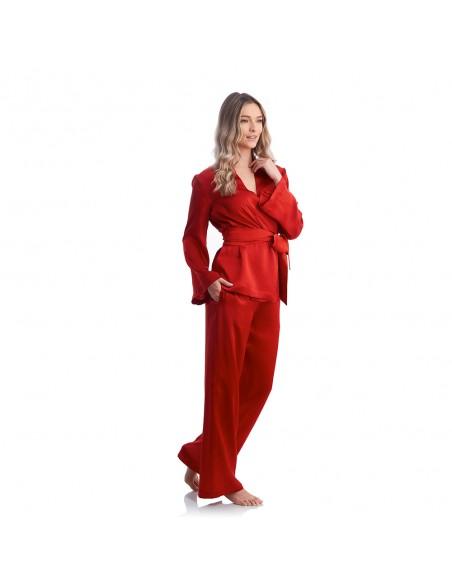 Pijamale Red Sunset din mătase - Maia Home