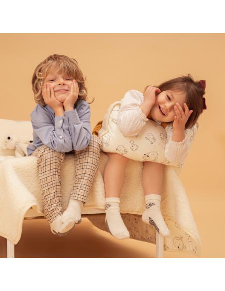 Șosete pentru copii, ecru, din lână, cu oițe - Maia Home