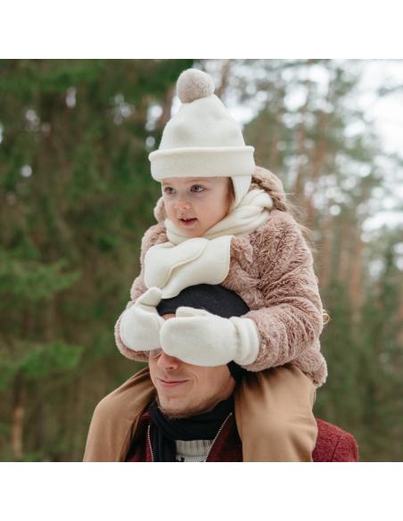 Fular copii Ecru din lână, 135x15 cm - Maia Home