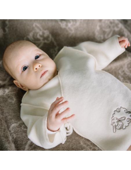 Jachetă bebe din lână Ecru - Maia Home