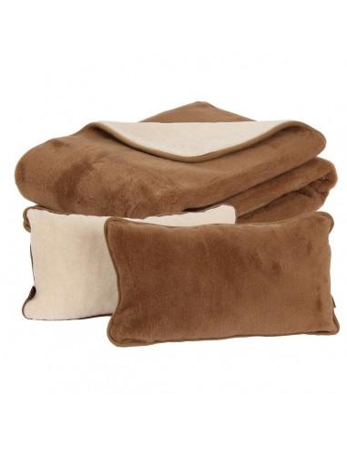 Set pătură și perne Camel din lână