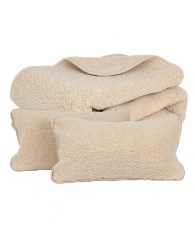 Set pătură și perne Nut din lână