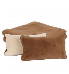 Set pătură și perne Chocolate din lână